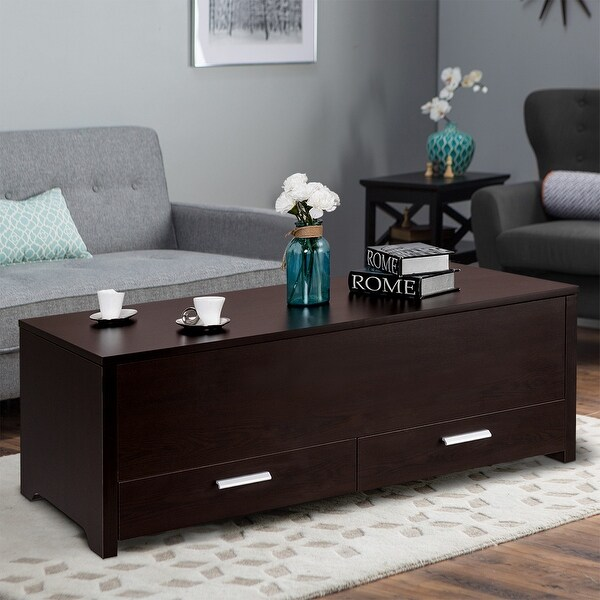 Gymax Trunk Coffee Table With Hidden Compartment Sliding Top U0026amp; 2  Drawers Living Room Furniture
