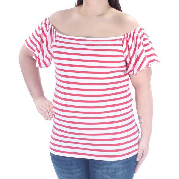 5f7268e149489 Shop RALPH LAUREN Womens Red Striped Bell Sleeve Off Shoulder Top ...