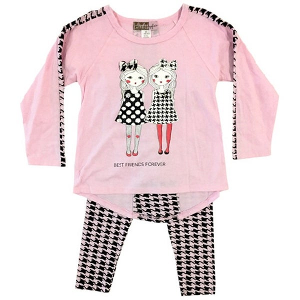 Ziggles Wiggles Baby Girls Pink Best Friends Long Sleeve 2 Pcs Outfit Set 12-24M