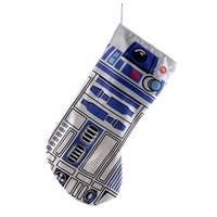 "19"" White and Blue Star Wars Themed Decorative R2D2 with Sound Stocking"