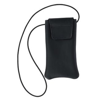 Boston Leather Solid Leather Eyeglass Case with Neck String - One size