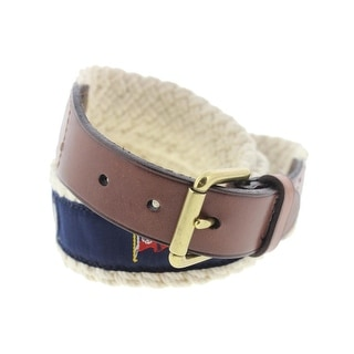 Polo Ralph Lauren Mens Embroided Leather Trim Braided Belt