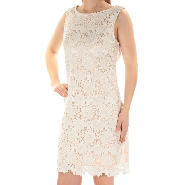 e32cdafc2f8 JESSICA HOWARD  89 Womens New 1225 White Lace Sleeveless Shift Dress 8 B+B  - Free Shipping On Orders Over  45 - Overstock.com - 27135742