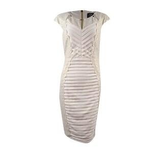 Jax Women's Elegant Textured Cutout Shimmery Dress - Ivory - 8