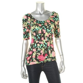 Ultraflirt Womens Juniors Floral Print Ballet Neck Pullover Top - S