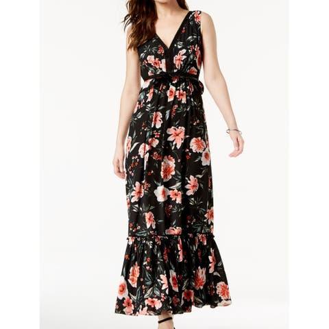 Ivanka Trump Floral Print Chiffon Lace Womens Maxi Dress