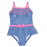 Penelope Mack Baby Girls Blue Stripe Ruffle Overlay One Piece Swimsuit