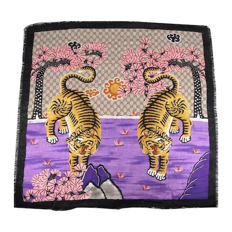 Gucci Women's Purple Beige Ebony GG Bangal Tiger Print Large Silk Scarf 457751 9672