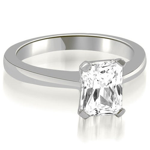 0.50 cttw. 14K White Gold Solitaire Emerald Cut Diamond Engagement Ring