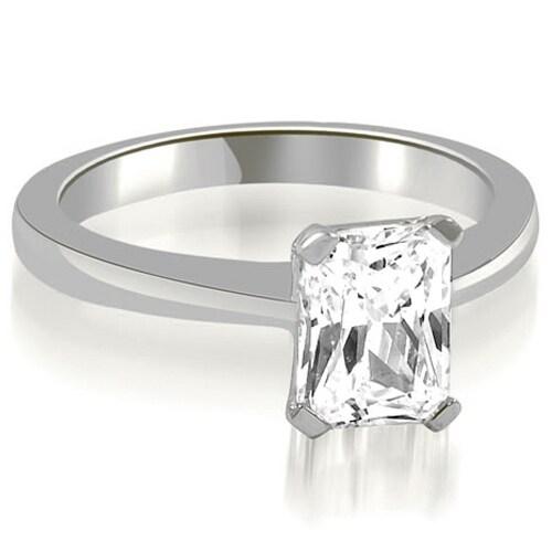 0.75 cttw. 14K White Gold Solitaire Emerald Cut Diamond Engagement Ring