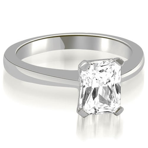 1.00 cttw. 14K White Gold Solitaire Emerald Cut Diamond Engagement Ring