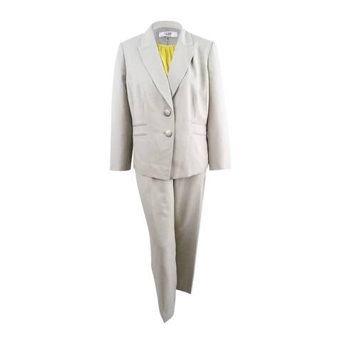 Le Suit Women's Plus Size Pantsuit & Camisole (22W, Khaki/Light Golden) - Khaki/Light Golden - 22W
