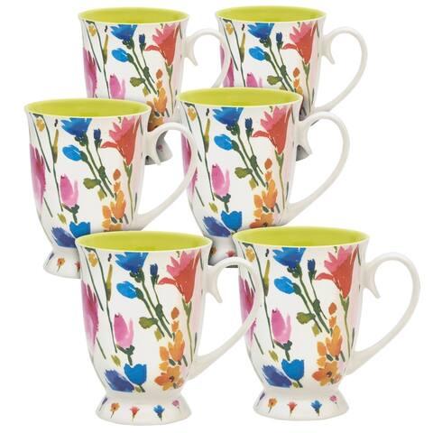Pfaltzgraff Pink Floral Footed 16OZ Mug (Set of 6)