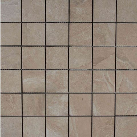 """The Tile Life Austin 2"""" x 2"""" Stone Look Ivory Field Tile Collection"""