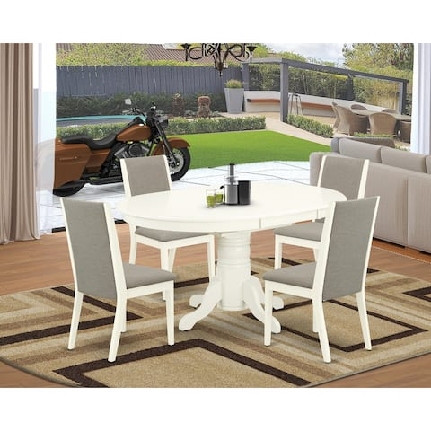 Easy West Furniture 5-Piece Dining Set Includes a Dining Table and 4 Shiitake Linen Fabric Parson Chairs - Linen White Finish