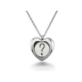 Stainless Steel Secret Heart Necklace on 16 Inch Ladies Anchor Chain