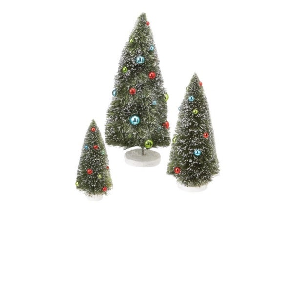 """Set of 3 Green Frosted Christmas Trees Tabletop Decor 17"""""""