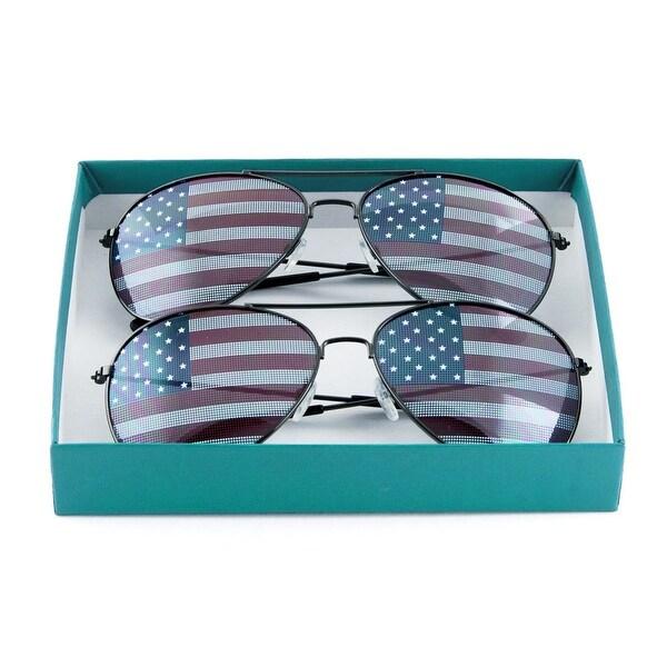 fca89d648a2 Shop Pack of 2 Black American Flag Aviator Sunglasses Gift Box ...