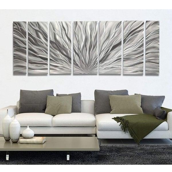 Shop Statements2000 Modern Metal Wall Art Abstract Silver Decor By Jon Allen Silver Plumage Overstock 12447245 Silver Plumage