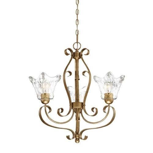 """Millennium Lighting 7423 Chatsworth 3 Light 23"""" Wide Chandelier with Fluted Glass Shades"""