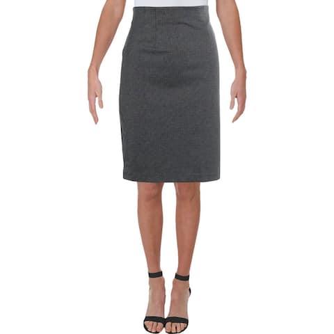 Amanda + Chelsea Womens Pencil Skirt Pinstripe Business - Grey - M
