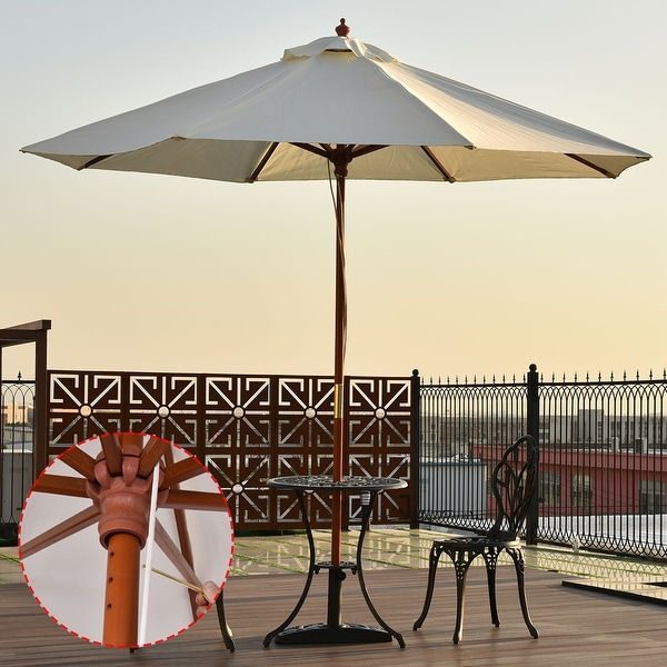 Costway Adjustable 10FT Wooden Umbrella Wood Pole Outdoor Patio Garden Sun Shade Beige