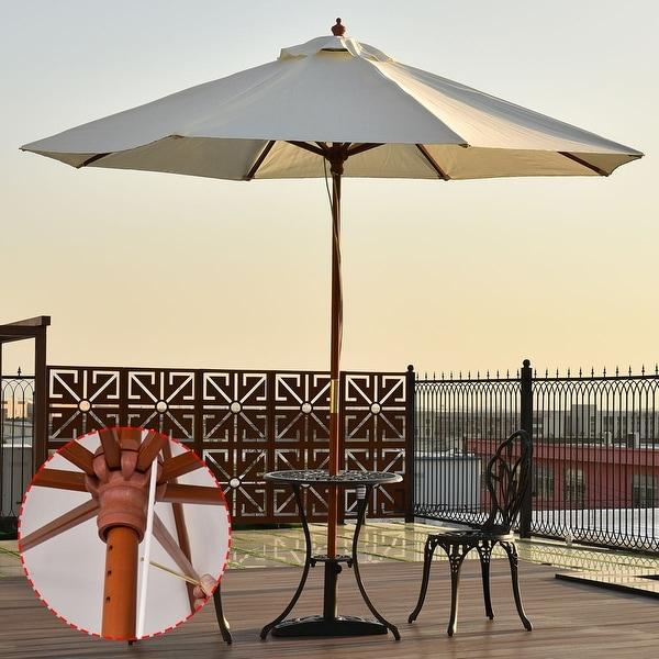 Costway Adjustable 9FT Wooden Patio Umbrella Wood Pole Outdoor Garden Sun Shade Beige