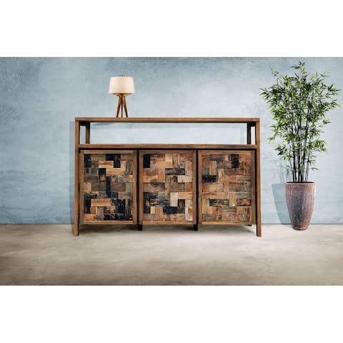 Chic Teak Recycled Teak Wood Mozaik Media Center / Buffet with 3 Wooden Doors