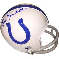 Gino Marchetti signed Baltimore Colts TB Riddell 2bar Mini Helmet blue sig