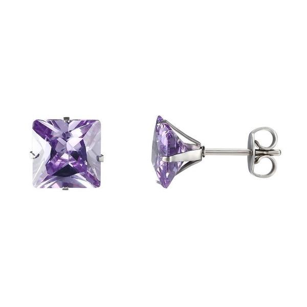 Stainless Steel CZ Earrings Light Purple Cubic Zirconia Princess Cut Studs 8mm