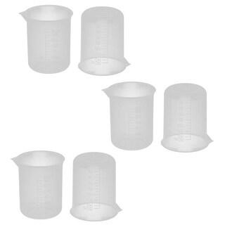 Science Laboratory Plastic Water Liquid Measuring Cup Beaker 150ml 6 Pcs