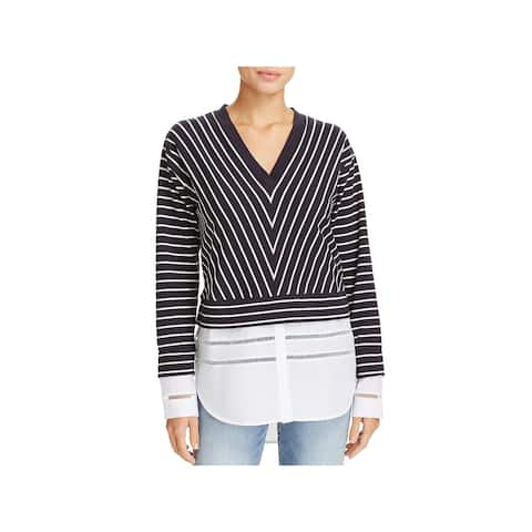 French Connection Womens Pullover Top Layered Mixed Media