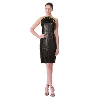 Tadashi Shoji Illusion Sequin Embroidered Tulle Sleeveless Sheath Dress - 6