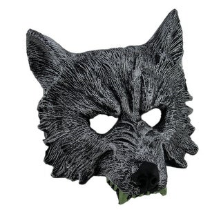 Metallic Silver Foam Wolf Head Half Face Mask