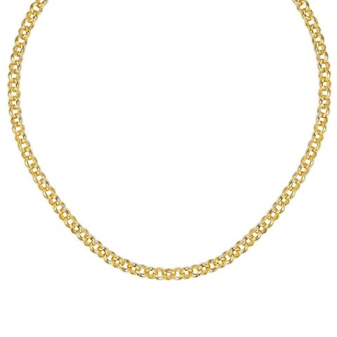 "BRONZORO 18 K Gold over bronze 18"" Rolo Link Blue Stones Necklace"