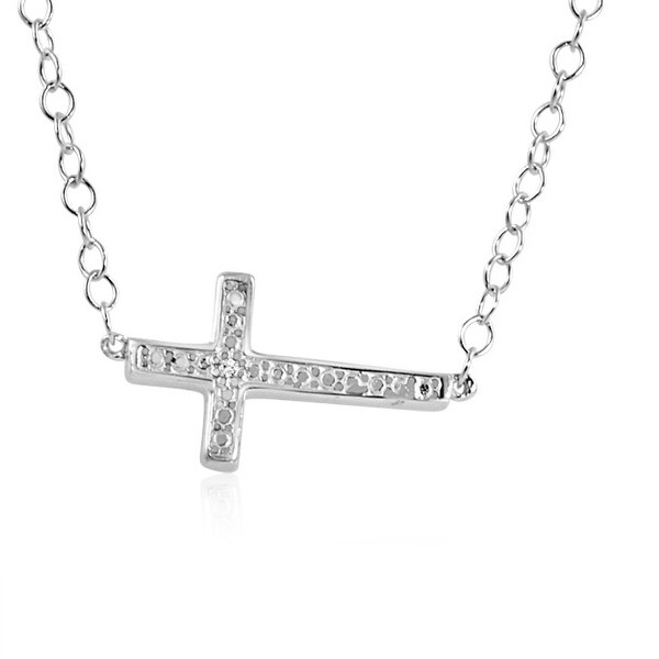 Amanda Rose Side Set Diamond Cross Necklace in Sterling Silver 18 inch