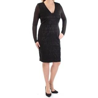 Womens Black Ikat Long Sleeve Above The Knee Sheath Cocktail Dress Size: 12