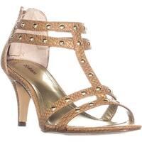 SC35 Levine Strappy Studded Zip Up Sandals, CajunSpice