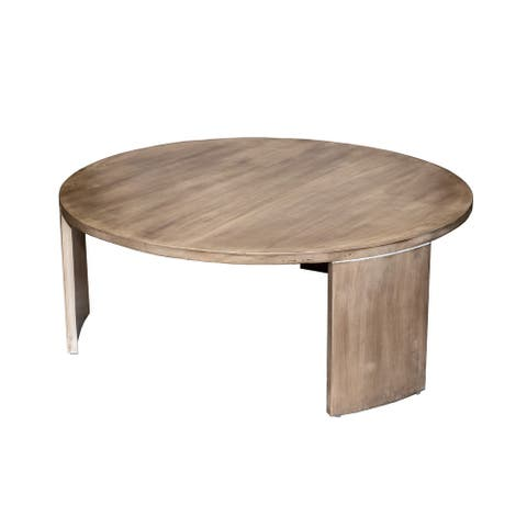 Round Modern Minimalist Coffee Table, Solid Mango Wood