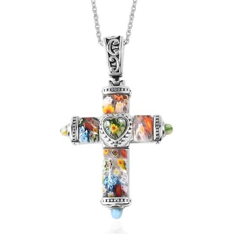Murano Millefiori Glass Cross Chain Pendant Necklace Size 20 Inch - Size 20''