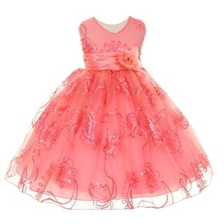 Baby Girls Coral Tulle Embroidery Sequins Flower Girl Easter Dress 3-24M