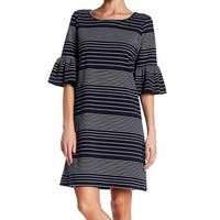 Max Studio Womens Large Striped Ruffle Shift Dress