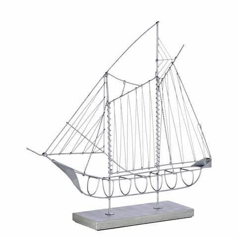 Handmade Wire Sailboat Gray Sculpture (Philippines) - 3 x 13 x 12