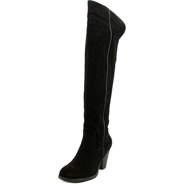 Mia Aburey Women Round Toe Suede Black Over the Knee Boot