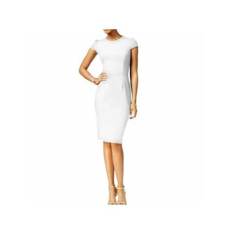 BETSEY JOHNSON White Short Sleeve Knee Length Dress 4