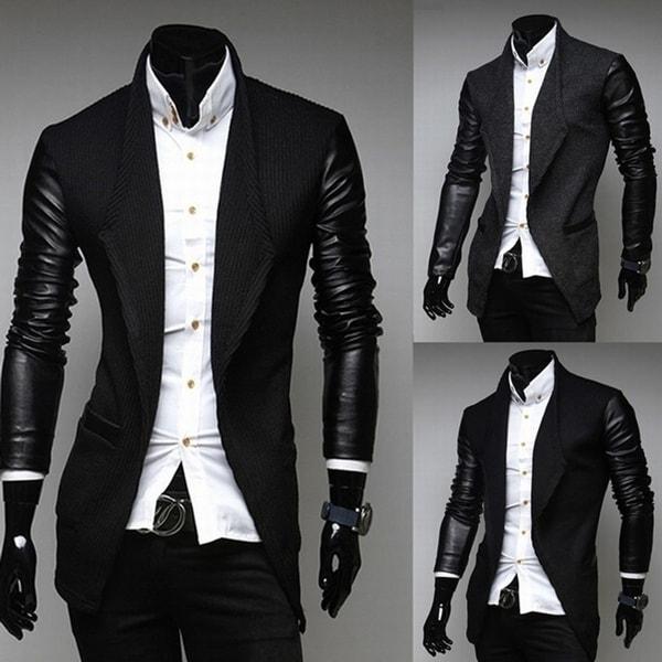 ae7f0d162e3 Fashion Men Jacket Formal Long Sleeve Slim Faux Leather Wedding Coat Outwear