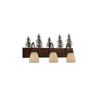 "Meyda Tiffany 135960 23.5"" W Tall Pines 3 Light Vanity Light - rust / green trees"