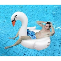 "53.5"" Inflatable White Swan Swimming Pool Ring Float"