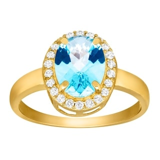 1 3/4 ct Natural Swiss Blue & Natural White Topaz Ring in 10K Gold