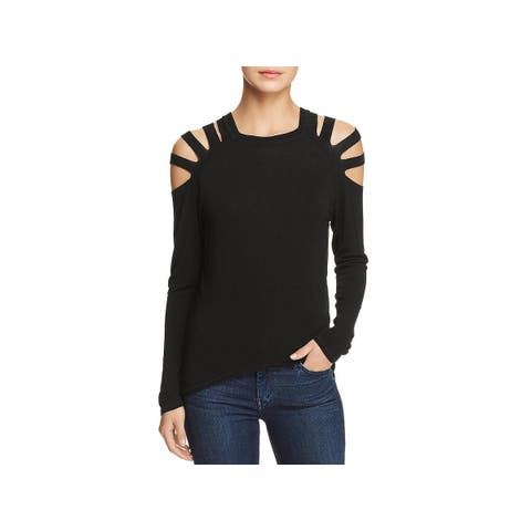 Elan Womens Pullover Top Cold Shoulder Hi-Low